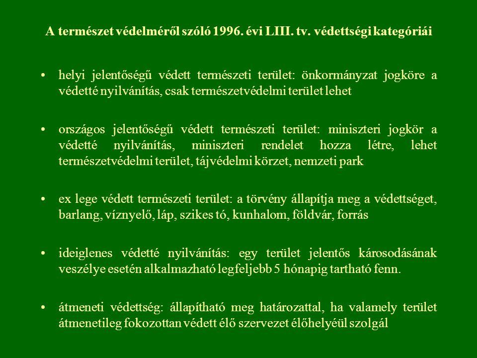 A természet védelméről szóló 1996. évi LIII. tv. védettségi kategóriái helyi jelentőségű védett természeti terület: önkormányzat jogköre a védetté nyi