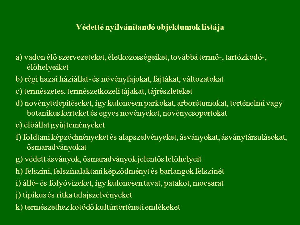Védetté nyilvánítandó objektumok listája a) vadon élő szervezeteket, életközösségeiket, továbbá termő-, tartózkodó-, élőhelyeiket b) régi hazai háziál