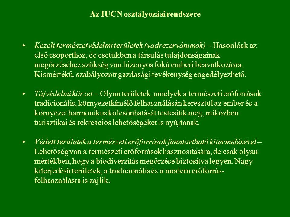 Az IUCN osztályozási rendszere Kezelt természetvédelmi területek (vadrezervátumok) – Hasonlóak az első csoporthoz, de esetükben a társulás tulajdonság