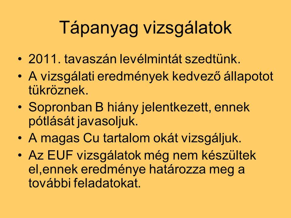 Időjárási jellemzők 2011-ben A szőlő vegetációban (9-35.hét) mért csapadék összegek és hőmérsékleti átlag értékek Kőszeg: 290,1 mm 15,9 C Pannonhalma: 346,8 mm 15,3 C Nagyrada: 209,2 mm 16,6 C Sopron – Balf: 410,6 mm 16,0 C Sopron Jánostelep: 365,6 mm 15,6 C Sopron – Kópháza: 260,9 mm 15,4 C