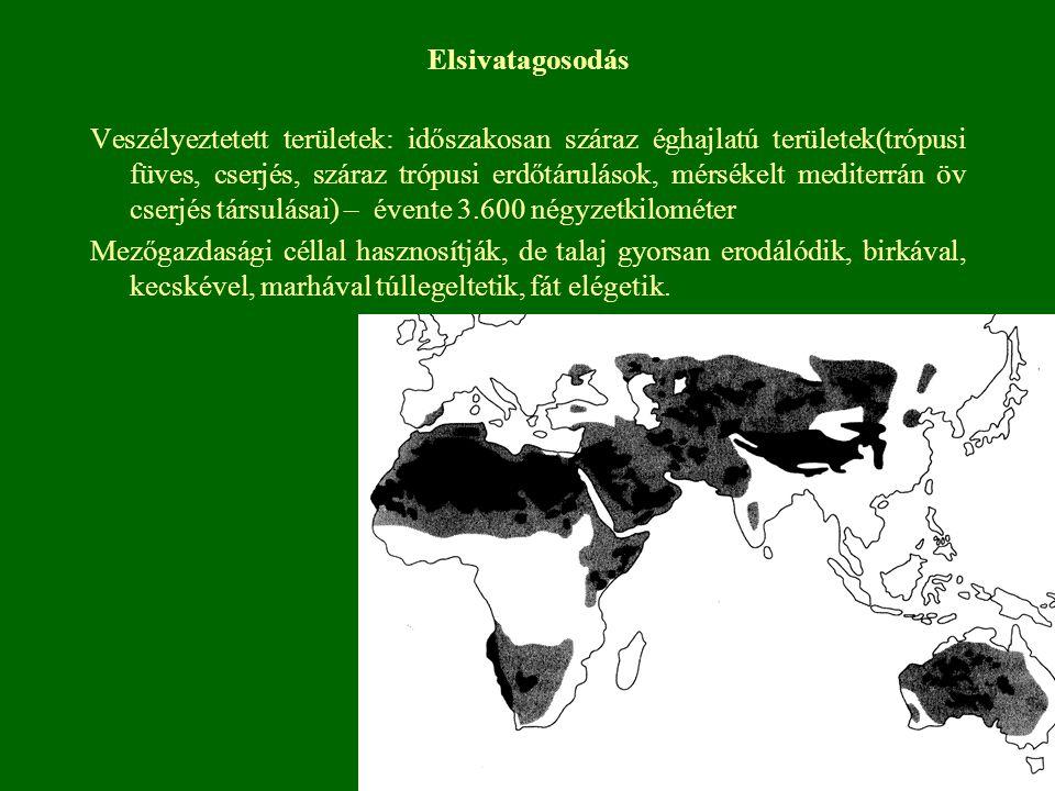 Elsivatagosodás Veszélyeztetett területek: időszakosan száraz éghajlatú területek(trópusi füves, cserjés, száraz trópusi erdőtárulások, mérsékelt medi