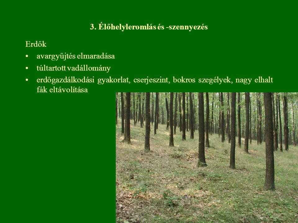 3. Élőhelyleromlás és -szennyezés Erdők avargyűjtés elmaradása túltartott vadállomány erdőgazdálkodási gyakorlat, cserjeszint, bokros szegélyek, nagy