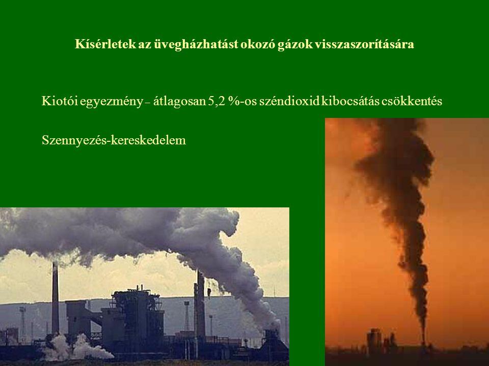 Kísérletek az üvegházhatást okozó gázok visszaszorítására Kiotói egyezmény – átlagosan 5,2 %-os széndioxid kibocsátás csökkentés Szennyezés-kereskedel