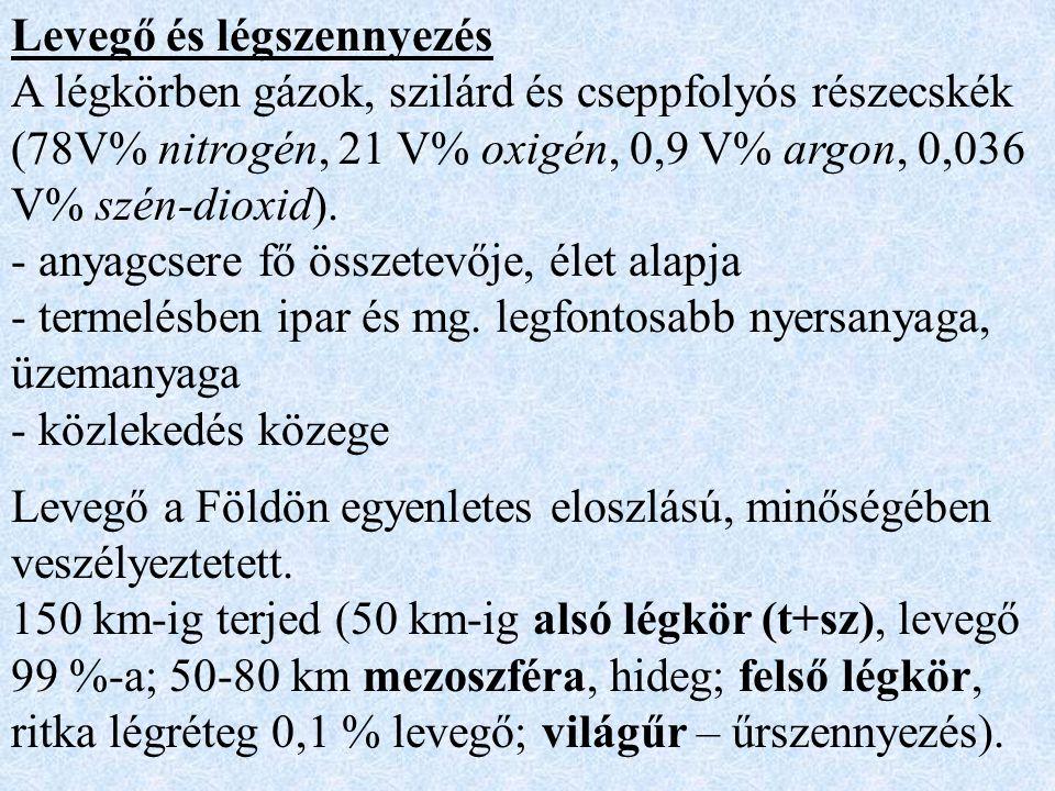 Levegő és légszennyezés A légkörben gázok, szilárd és cseppfolyós részecskék (78V% nitrogén, 21 V% oxigén, 0,9 V% argon, 0,036 V% szén-dioxid).