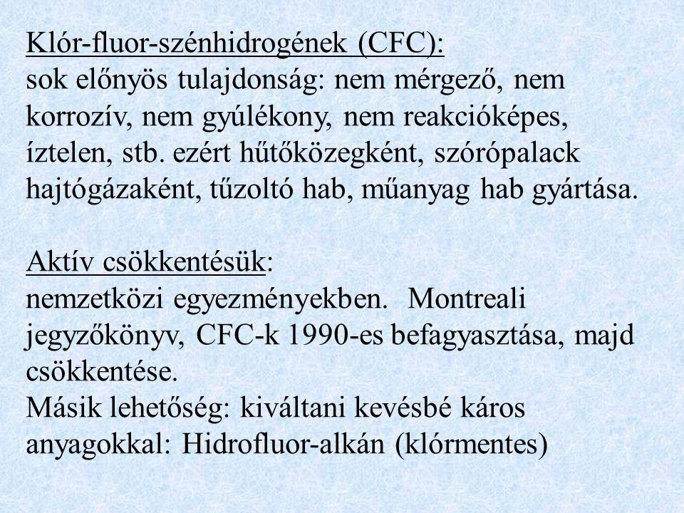 Klór-fluor-szénhidrogének (CFC): sok előnyös tulajdonság: nem mérgező, nem korrozív, nem gyúlékony, nem reakcióképes, íztelen, stb.