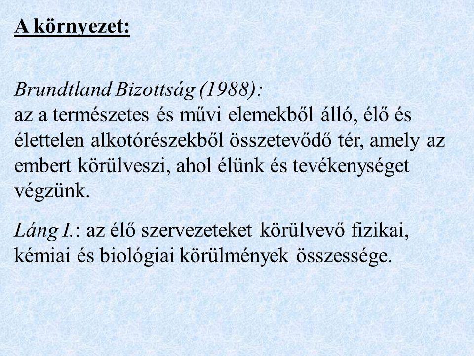 A környezet: Brundtland Bizottság (1988): az a természetes és művi elemekből álló, élő és élettelen alkotórészekből összetevődő tér, amely az embert körülveszi, ahol élünk és tevékenységet végzünk.