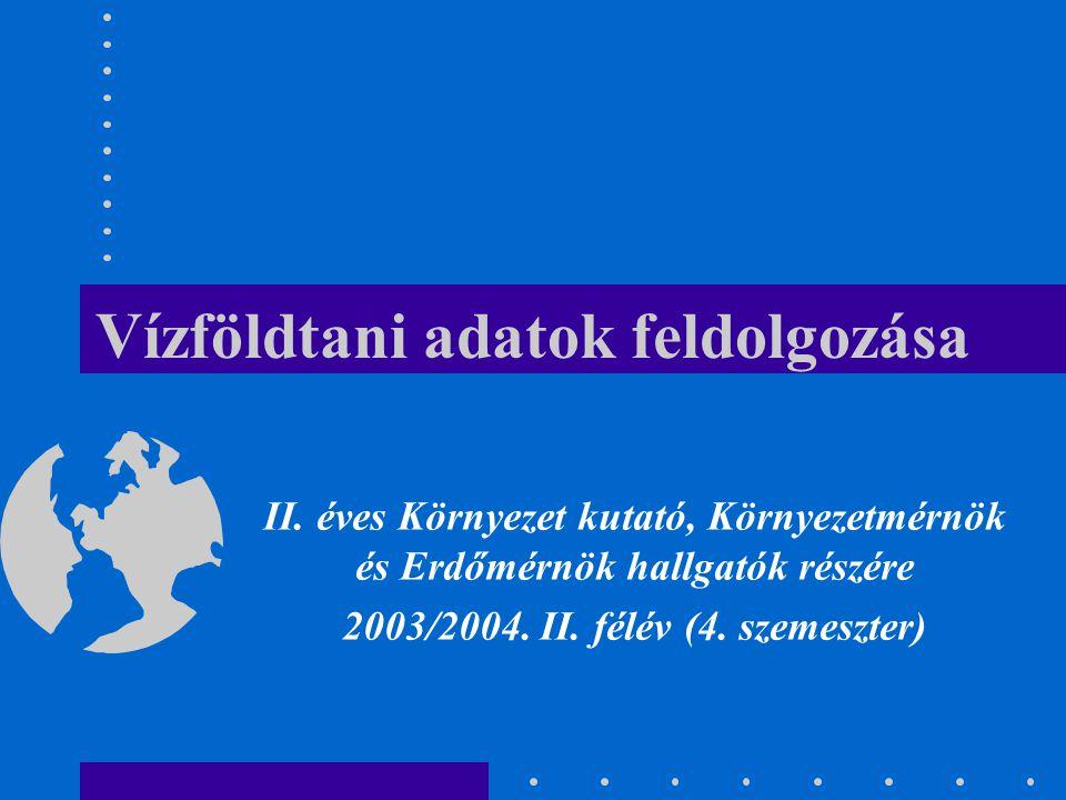 Vízföldtani adatok feldolgozása II. éves Környezet kutató, Környezetmérnök és Erdőmérnök hallgatók részére 2003/2004. II. félév (4. szemeszter)