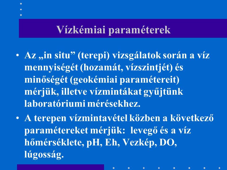"""Vízkémiai paraméterek Az """"in situ"""" (terepi) vizsgálatok során a víz mennyiségét (hozamát, vízszintjét) és minőségét (geokémiai paramétereit) mérjük, i"""