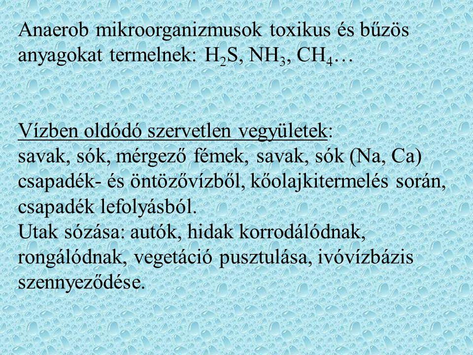 Anaerob mikroorganizmusok toxikus és bűzös anyagokat termelnek: H 2 S, NH 3, CH 4 … Vízben oldódó szervetlen vegyületek: savak, sók, mérgező fémek, savak, sók (Na, Ca) csapadék- és öntözővízből, kőolajkitermelés során, csapadék lefolyásból.