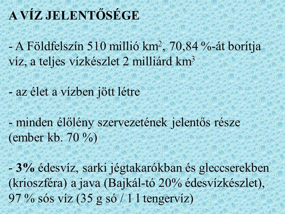 A VÍZ JELENTŐSÉGE - A Földfelszín 510 millió km 2, 70,84 %-át borítja víz, a teljes vízkészlet 2 milliárd km 3 - az élet a vízben jött létre - minden élőlény szervezetének jelentős része (ember kb.