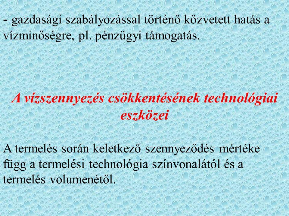 - gazdasági szabályozással történő közvetett hatás a vízminőségre, pl.