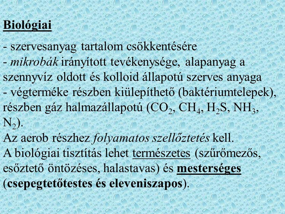 Biológiai - szervesanyag tartalom csökkentésére - mikrobák irányított tevékenysége, alapanyag a szennyvíz oldott és kolloid állapotú szerves anyaga - végterméke részben kiülepíthető (baktériumtelepek), részben gáz halmazállapotú (CO 2, CH 4, H 2 S, NH 3, N 2 ).