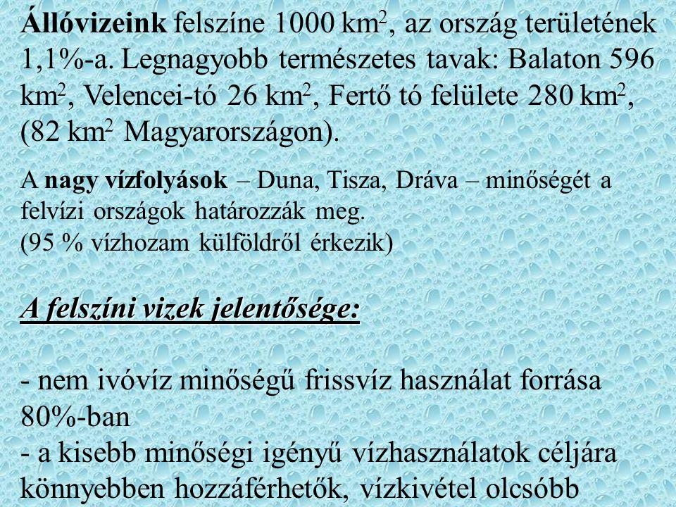 Állóvizeink felszíne 1000 km 2, az ország területének 1,1%-a. Legnagyobb természetes tavak: Balaton 596 km 2, Velencei-tó 26 km 2, Fertő tó felülete 2