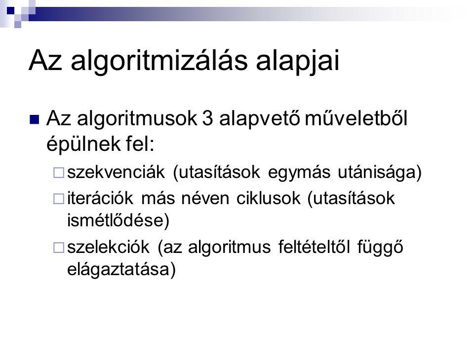 Az algoritmizálás alapjai Az algoritmusok 3 alapvető műveletből épülnek fel:  szekvenciák (utasítások egymás utánisága)  iterációk más néven ciklusok (utasítások ismétlődése)  szelekciók (az algoritmus feltételtől függő elágaztatása)