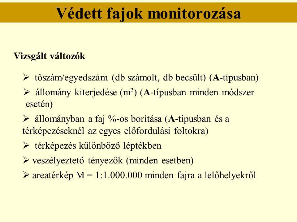Védett fajok monitorozása  tőszám/egyedszám (db számolt, db becsült) (A-típusban)  állomány kiterjedése (m 2 ) (A-típusban minden módszer esetén) 