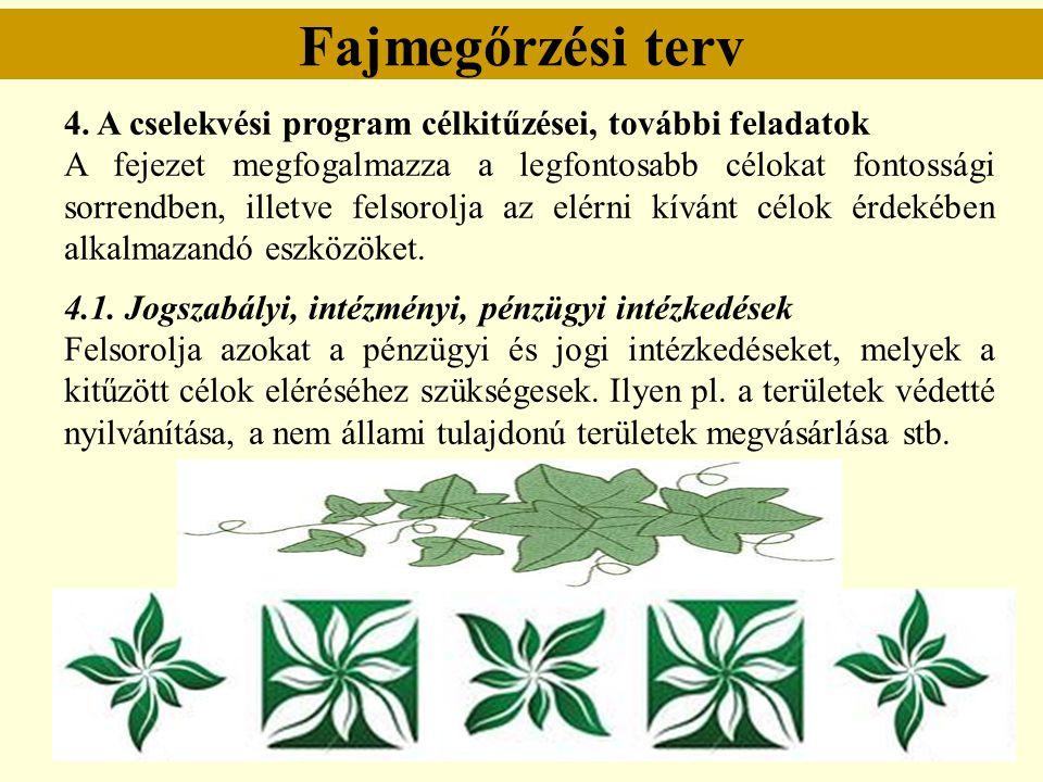 Fajmegőrzési terv 4. A cselekvési program célkitűzései, további feladatok A fejezet megfogalmazza a legfontosabb célokat fontossági sorrendben, illetv