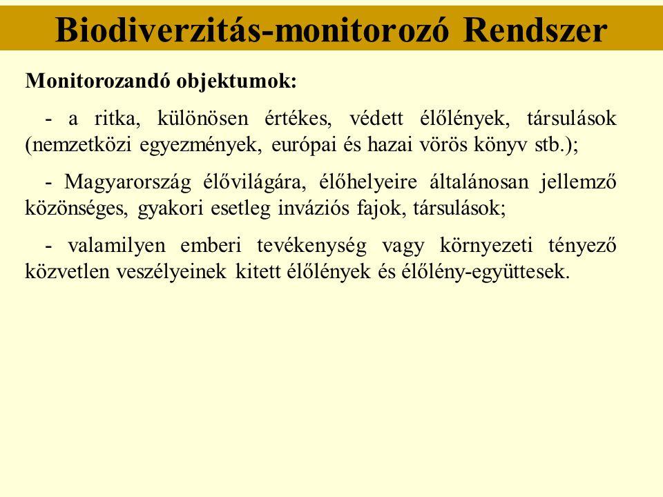 Biodiverzitás-monitorozó Rendszer Monitorozandó objektumok: - a ritka, különösen értékes, védett élőlények, társulások (nemzetközi egyezmények, európa