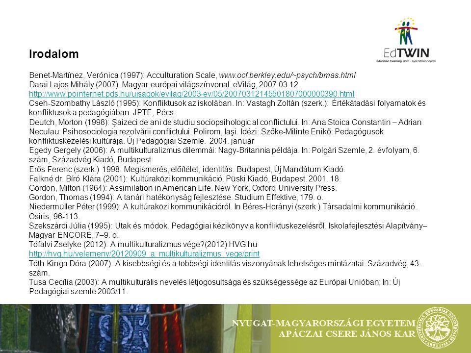 Irodalom Benet-Martínez, Verónica (1997): Acculturation Scale, www.ocf.berkley.edu/~psych/bmas.html Darai Lajos Mihály (2007). Magyar európai világszí
