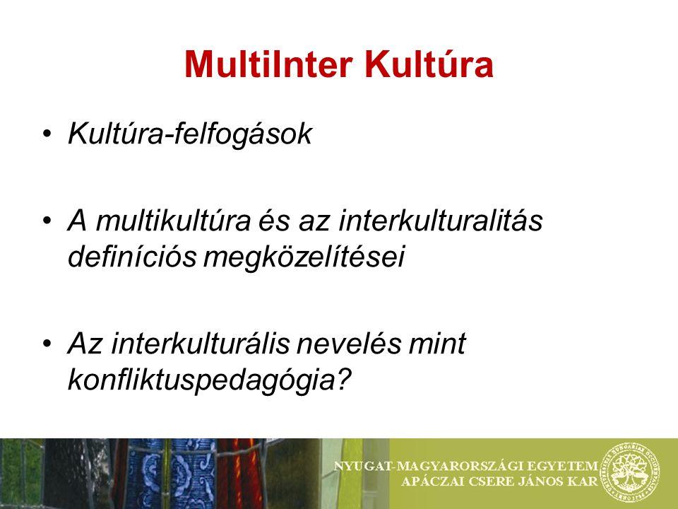 MultiInter Kultúra Kultúra-felfogások A multikultúra és az interkulturalitás definíciós megközelítései Az interkulturális nevelés mint konfliktuspedagógia?