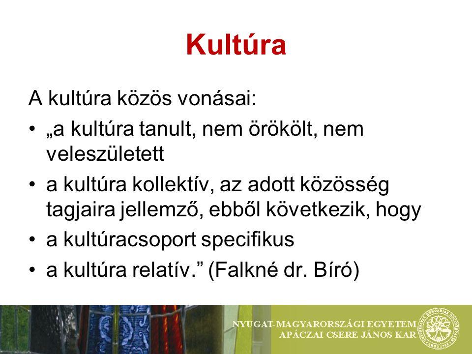 """Kultúra A kultúra közös vonásai: """"a kultúra tanult, nem örökölt, nem veleszületett a kultúra kollektív, az adott közösség tagjaira jellemző, ebből következik, hogy a kultúracsoport specifikus a kultúra relatív. (Falkné dr."""