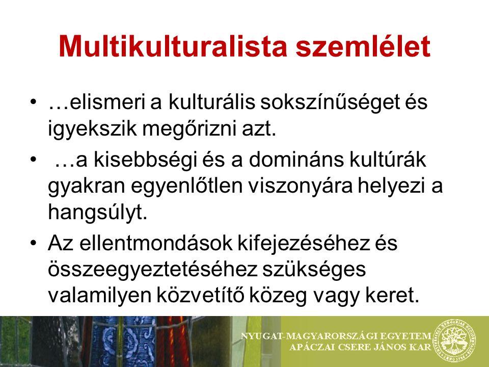 Multikulturalista szemlélet …elismeri a kulturális sokszínűséget és igyekszik megőrizni azt.