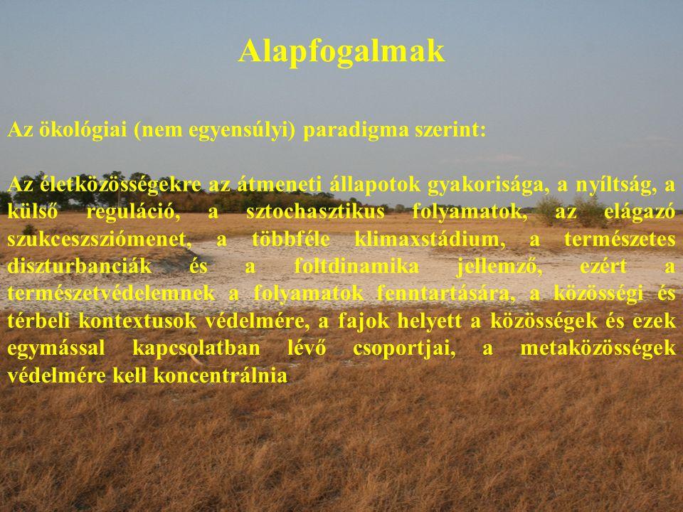Alapfogalmak Az ökológiai (nem egyensúlyi) paradigma szerint: Az életközösségekre az átmeneti állapotok gyakorisága, a nyíltság, a külső reguláció, a sztochasztikus folyamatok, az elágazó szukceszsziómenet, a többféle klimaxstádium, a természetes diszturbanciák és a foltdinamika jellemző, ezért a természetvédelemnek a folyamatok fenntartására, a közösségi és térbeli kontextusok védelmére, a fajok helyett a közösségek és ezek egymással kapcsolatban lévő csoportjai, a metaközösségek védelmére kell koncentrálnia
