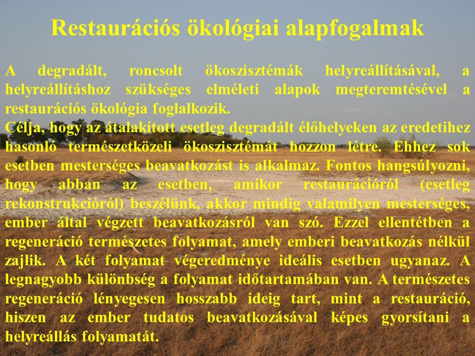 Restaurációs ökológiai alapfogalmak A degradált, roncsolt ökoszisztémák helyreállításával, a helyreállításhoz szükséges elméleti alapok megteremtésével a restaurációs ökológia foglalkozik.