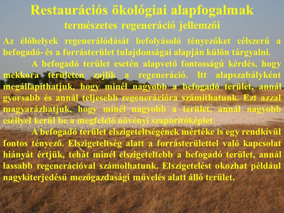 Restaurációs ökológiai alapfogalmak természetes regeneráció jellemzői Az élőhelyek regenerálódását befolyásoló tényezőket célszerű a befogadó- és a fo