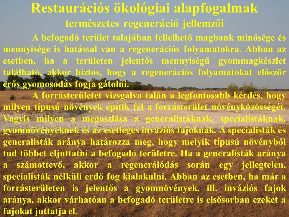 Restaurációs ökológiai alapfogalmak természetes regeneráció jellemzői A befogadó terület talajában fellelhető magbank minősége és mennyisége is hatással van a regenerációs folyamatokra.
