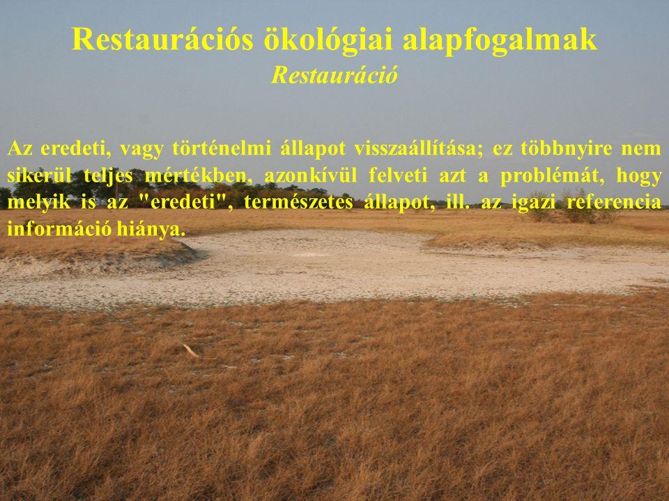 Restaurációs ökológiai alapfogalmak Restauráció Az eredeti, vagy történelmi állapot visszaállítása; ez többnyire nem sikerül teljes mértékben, azonkívül felveti azt a problémát, hogy melyik is az eredeti , természetes állapot, ill.