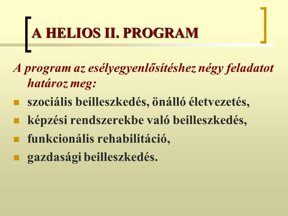 A program az esélyegyenlősítéshez négy feladatot határoz meg: szociális beilleszkedés, önálló életvezetés, képzési rendszerekbe való beilleszkedés, fu