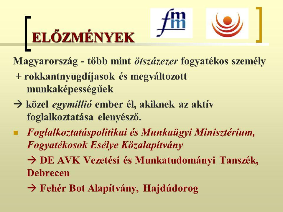 ELŐZMÉNYEK Magyarország - több mint ötszázezer fogyatékos személy + rokkantnyugdíjasok és megváltozott munkaképességűek  közel egymillió ember él, ak
