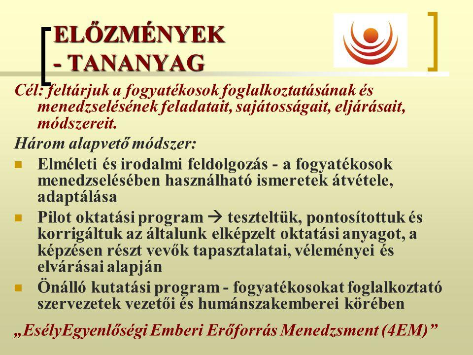 ELŐZMÉNYEK - TANANYAG Cél: feltárjuk a fogyatékosok foglalkoztatásának és menedzselésének feladatait, sajátosságait, eljárásait, módszereit. Három ala