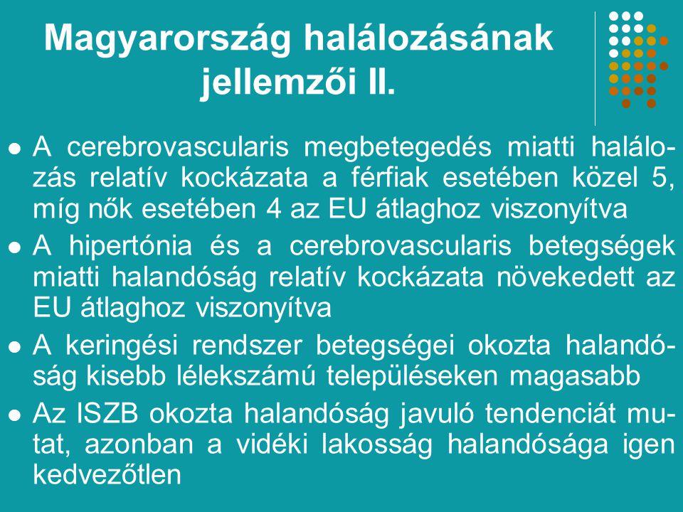 A cerebrovascularis megbetegedés miatti halálo- zás relatív kockázata a férfiak esetében közel 5, míg nők esetében 4 az EU átlaghoz viszonyítva A hipertónia és a cerebrovascularis betegségek miatti halandóság relatív kockázata növekedett az EU átlaghoz viszonyítva A keringési rendszer betegségei okozta halandó- ság kisebb lélekszámú településeken magasabb Az ISZB okozta halandóság javuló tendenciát mu- tat, azonban a vidéki lakosság halandósága igen kedvezőtlen Magyarország halálozásának jellemzői II.