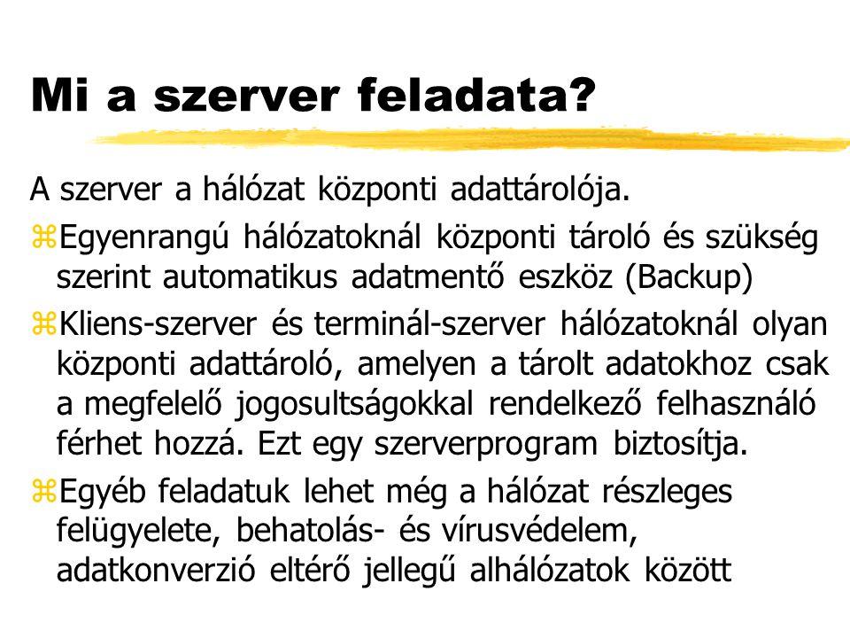 Mi a szerver feladata.A szerver a hálózat központi adattárolója.