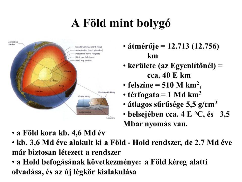 A Föld mint bolygó átmérője = 12.713 (12.756) km kerülete (az Egyenlítőnél) = cca. 40 E km felszíne = 510 M km 2, térfogata = 1 Md km 3 átlagos sűrűsé