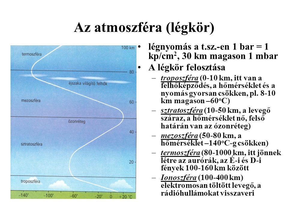 Az atmoszféra (légkör) légnyomás a t.sz.-en 1 bar = 1 kp/cm 2, 30 km magason 1 mbar A légkör felosztása –troposzféra (0-10 km, itt van a felhőképződés