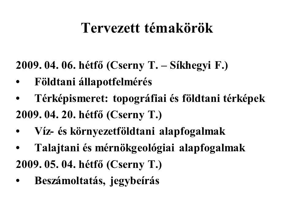 Tervezett témakörök 2009. 04. 06. hétfő (Cserny T. – Síkhegyi F.) Földtani állapotfelmérés Térképismeret: topográfiai és földtani térképek 2009. 04. 2