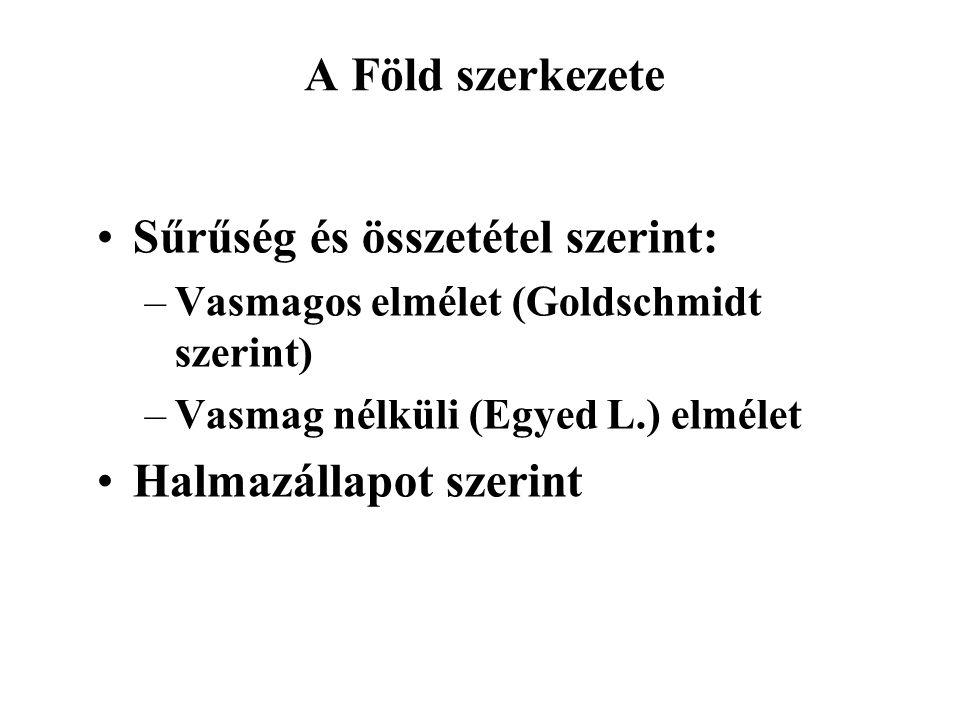 A Föld szerkezete Sűrűség és összetétel szerint: –Vasmagos elmélet (Goldschmidt szerint) –Vasmag nélküli (Egyed L.) elmélet Halmazállapot szerint