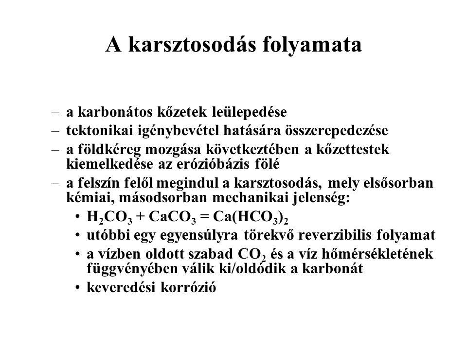 A karsztosodás folyamata –a karbonátos kőzetek leülepedése –tektonikai igénybevétel hatására összerepedezése –a földkéreg mozgása következtében a kőzettestek kiemelkedése az erózióbázis fölé –a felszín felől megindul a karsztosodás, mely elsősorban kémiai, másodsorban mechanikai jelenség: H 2 CO 3 + CaCO 3 = Ca(HCO 3 ) 2 utóbbi egy egyensúlyra törekvő reverzibilis folyamat a vízben oldott szabad CO 2 és a víz hőmérsékletének függvényében válik ki/oldódik a karbonát keveredési korrózió