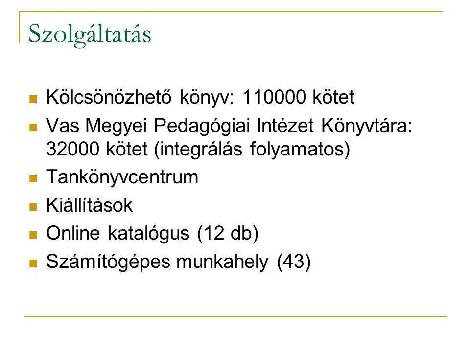 Szolgáltatás Kölcsönözhető könyv: 110000 kötet Vas Megyei Pedagógiai Intézet Könyvtára: 32000 kötet (integrálás folyamatos) Tankönyvcentrum Kiállítások Online katalógus (12 db) Számítógépes munkahely (43)