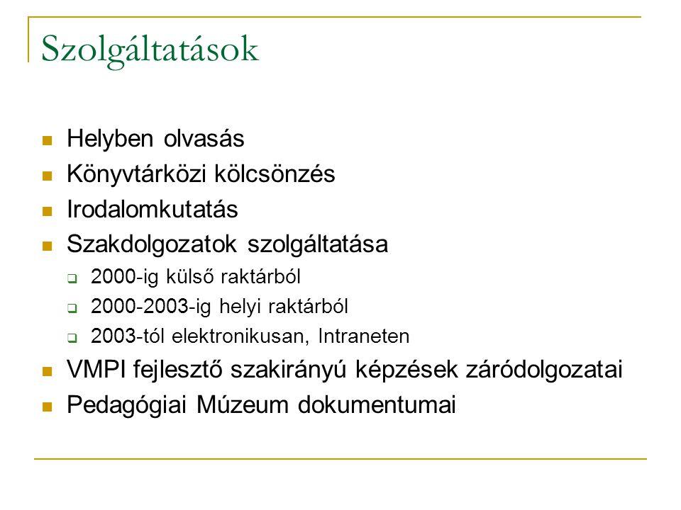 Szolgáltatások Helyben olvasás Könyvtárközi kölcsönzés Irodalomkutatás Szakdolgozatok szolgáltatása  2000-ig külső raktárból  2000-2003-ig helyi raktárból  2003-tól elektronikusan, Intraneten VMPI fejlesztő szakirányú képzések záródolgozatai Pedagógiai Múzeum dokumentumai