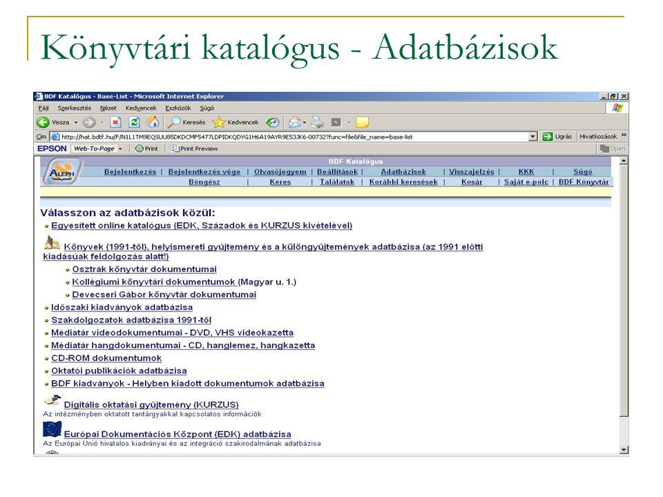 Könyvtári katalógus - Adatbázisok