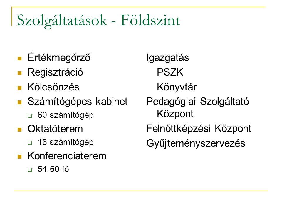 Számítógépes szolgáltatások (200 gép) Online katalógus  http://hat.bdtf.hu http://hat.bdtf.hu  www.szikla.net + szerver – a VMPI Könyvtárának állománya www.szikla.net Könyvtári weboldal  http://www.bdtf.hu/konyvtar http://www.bdtf.hu/konyvtar Távoli könyvtárak katalógusai Adatbázisok E-könyvtár (szakdolgozatok, tananyagok) Internethasználat (drótnélküli is) Office programok használata