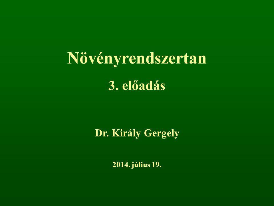 Növényrendszertan 3. előadás Dr. Király Gergely 2014. július 19.