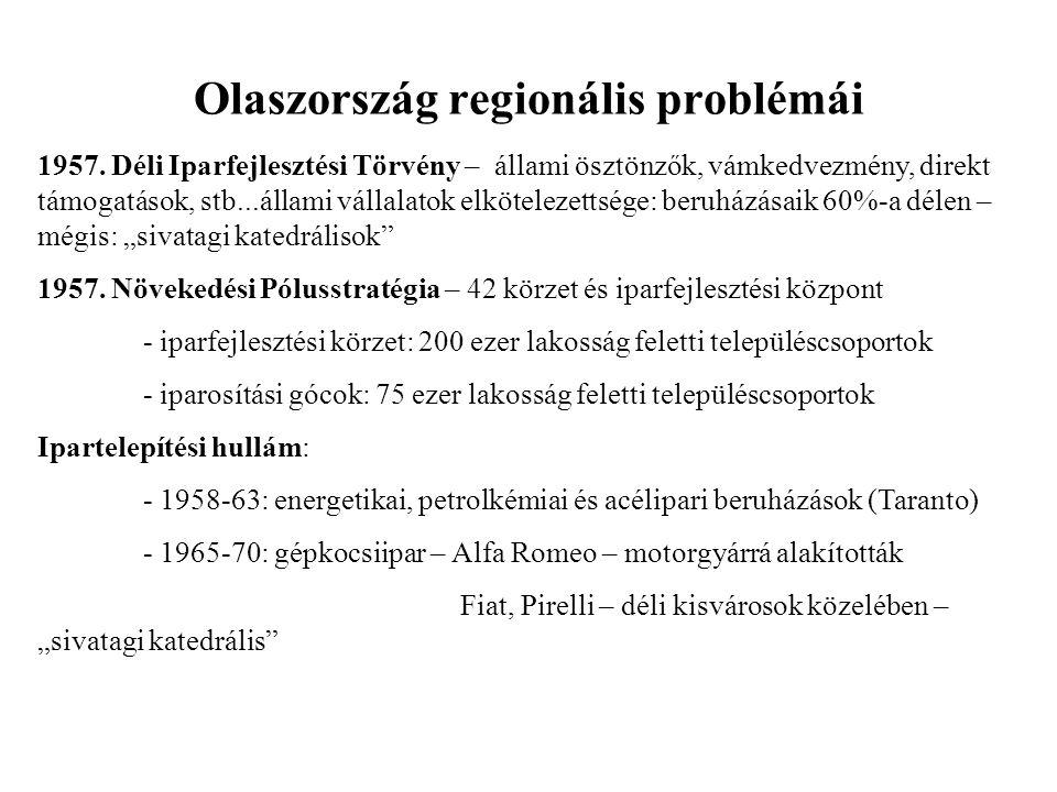 Olaszország regionális problémái 1957. Déli Iparfejlesztési Törvény – állami ösztönzők, vámkedvezmény, direkt támogatások, stb...állami vállalatok elk