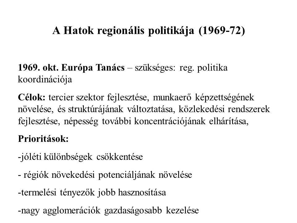 A Hatok regionális politikája (1969-72) 1969. okt. Európa Tanács – szükséges: reg. politika koordinációja Célok: tercier szektor fejlesztése, munkaerő