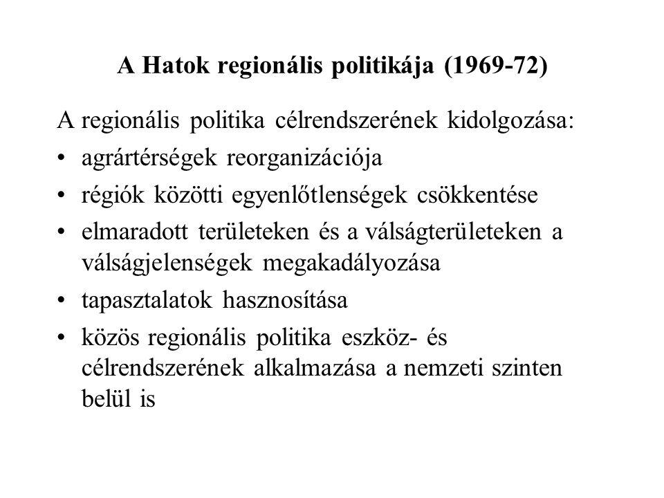 A Hatok regionális politikája (1969-72) A regionális politika célrendszerének kidolgozása: agrártérségek reorganizációja régiók közötti egyenlőtlenség