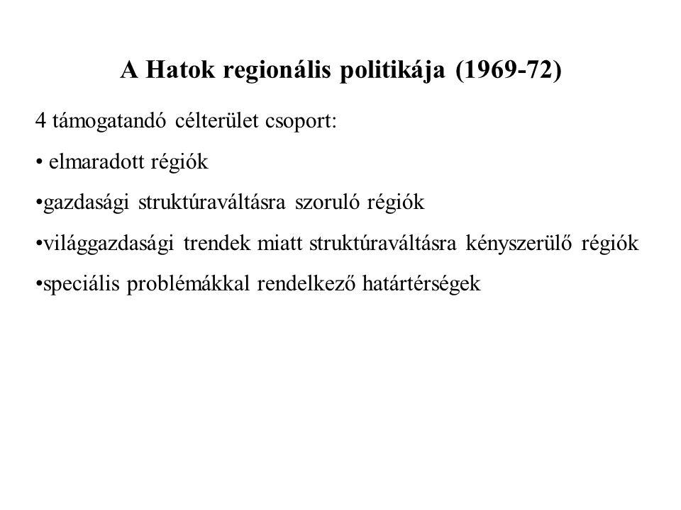 A Hatok regionális politikája (1969-72) 4 támogatandó célterület csoport: elmaradott régiók gazdasági struktúraváltásra szoruló régiók világgazdasági
