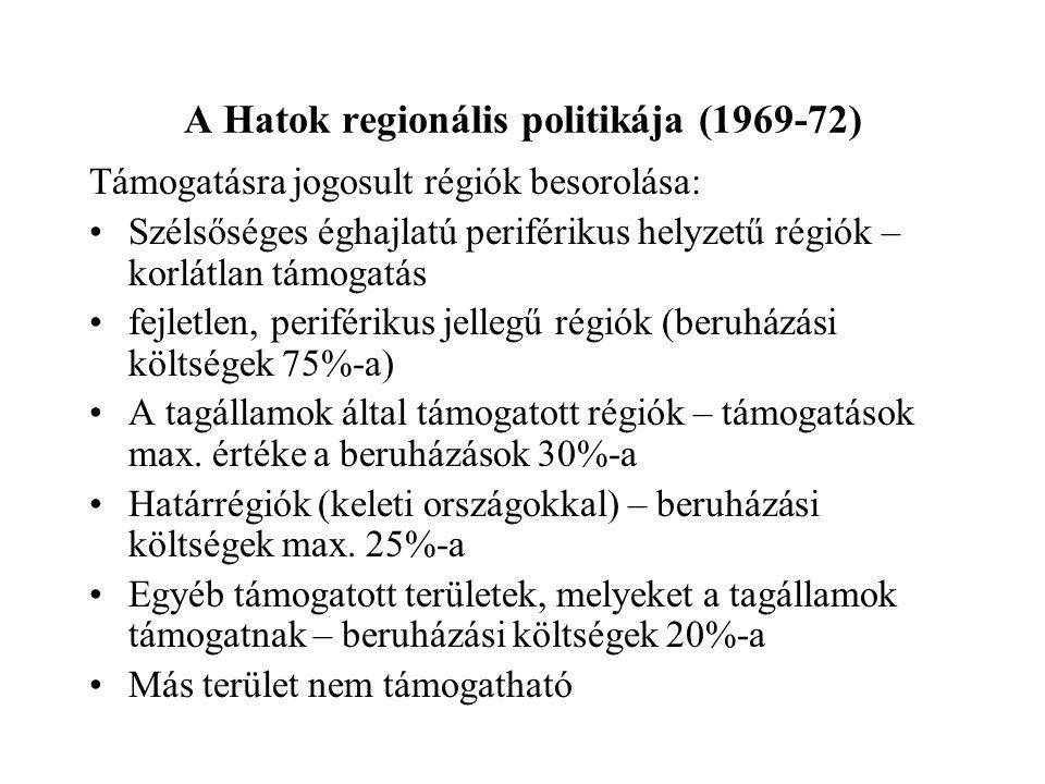 A Hatok regionális politikája (1969-72) Támogatásra jogosult régiók besorolása: Szélsőséges éghajlatú periférikus helyzetű régiók – korlátlan támogatá